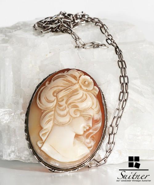 Antike Gemme Brosche mit Kette aus Silber Kamee Anhänger Collier Pendant