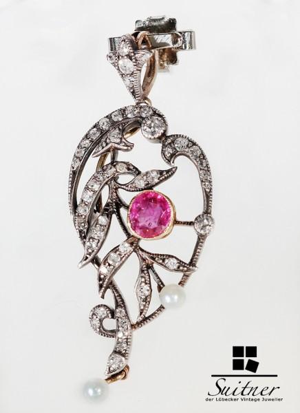 Anhänger mit Rubin , Perle und Diamant antik
