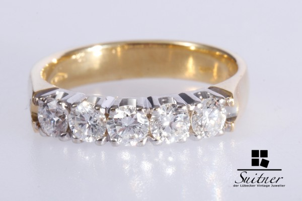 wertvoller Brillant Ring mit ca. 0,92ct 750 Gold Gr. 55 Memoryring