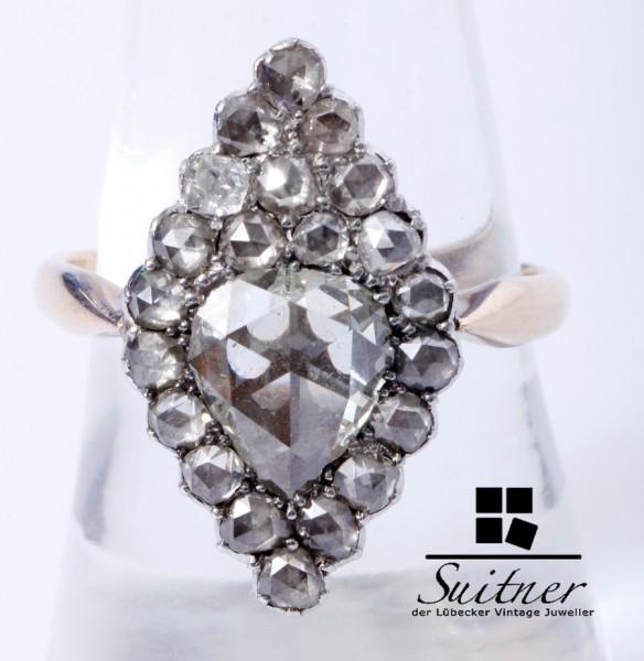 antiker 2,42ct. Art Deco Ring mit riesigen Altschliff Diamanten 585 Gold Gr. 58