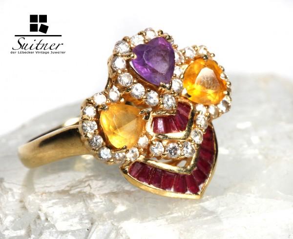 multicolor Ring mit Brillanten, Citrin, Rubin und Amethyst 750 Gold Blume Herz