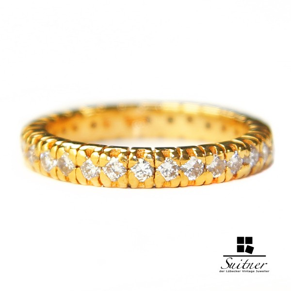 Memoire Memory Ring ca. 0,90 ct. 30 Brillanten 750 Gold mit Gutachten