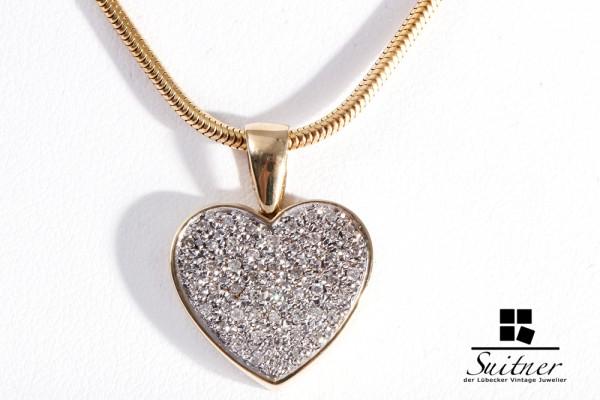 Herz Collier mit Diamanten 585 Gelbgold