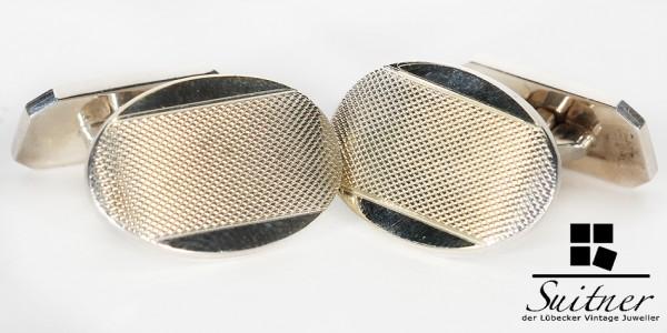 Art Deco Manschettenknöpfe aus 835 Silber und Gold Goldfront oval Cuff Links