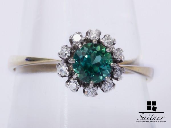 Ring 585 Gold grüner Turmalin Verdelith Diamanten Gr. 58