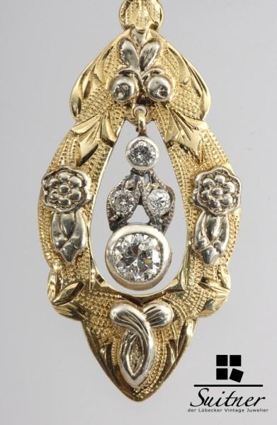 Biedermeier Anhänger Diamanten antik vermutlich Wien Gold Weißgold 585