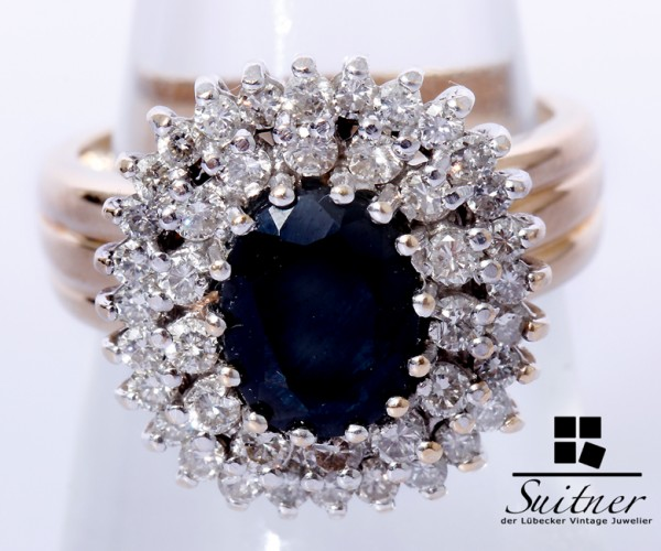 enormer Saphir Ring Brillanten 585 Gold Gr. 54 - ca. 2,70ct.