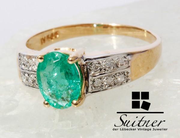 Harry Ivens Smaragd Ring 585 Gold Gr. 54 Emerald