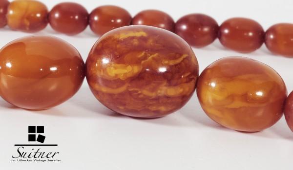 antike Bernstein Butterscotch Oliven Kette - real Amber big Prayer Beads