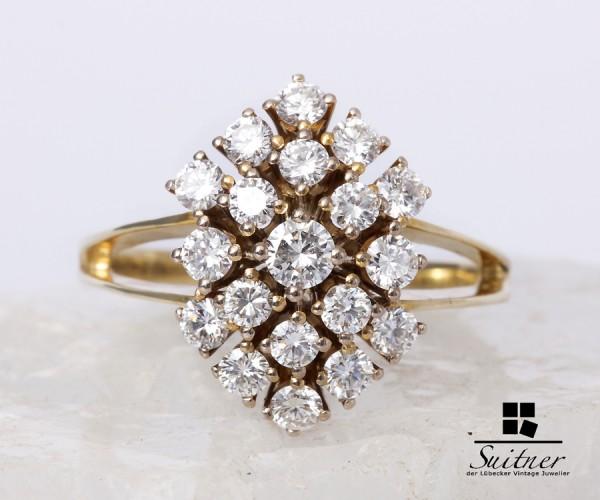 1,54 ct Brillant Ring 585 Gelbgold Lupenrein Schmuckpass