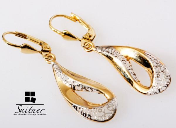 Amor Ohrhänger aus 750 Gelbgold Weißgold