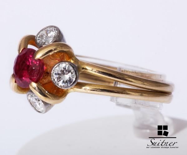 wertvoller Rubin Ring aus 750 Gold 4 Brillanten ca. 0,40ct. Gr 53 Luxus
