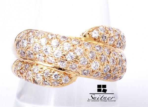 moderner Ring mit 74 Brillanten 585 Gold Pavee Luxus pur