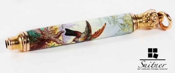 antiker Stift aus Gold Kettenstift feinste Emaille Vogel Blumen chinesischer Markt China