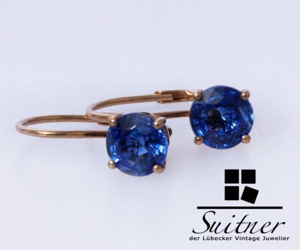 feine klassische Ohrhänger as Gold mit Saphir - blauen Steinbesatz