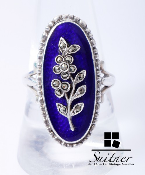 Schöner Jugendstil Ring 900 Silber mit blauer Emaille Markasit Besatz antik