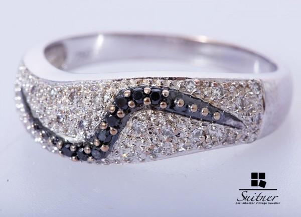 moderner 750 Weißgold Ring Gr. 59,5 weiße und schwarze Diamanten