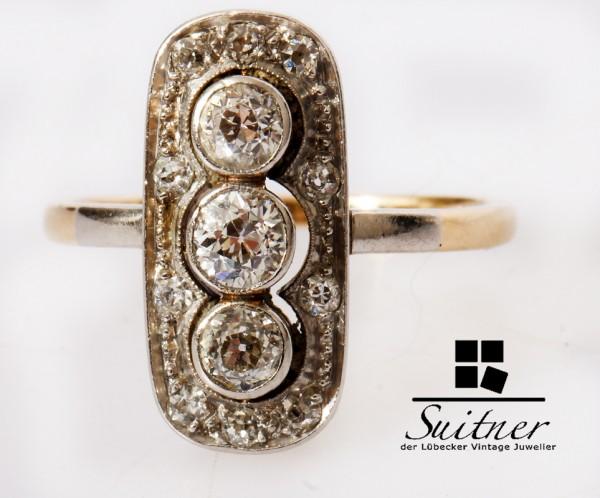 Jugendstil Ring Altschliff Diamant 585 Gold Schiffchen Gr. 50