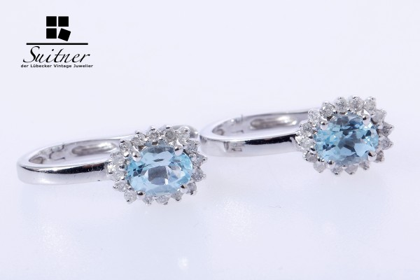 neuwertige Blautopas Ohrringe Brillanten 585 Weißgold Zertifikat