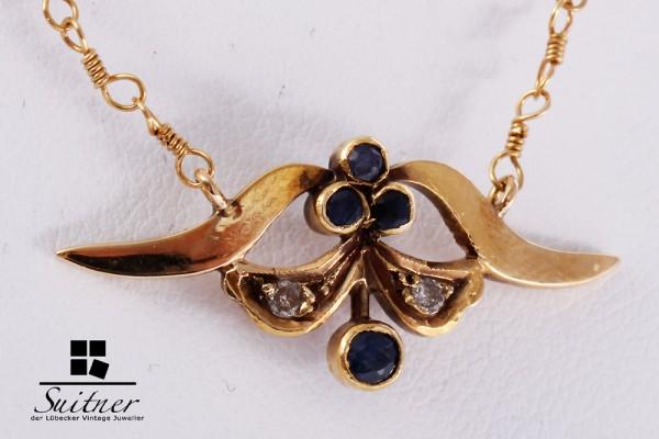 zarte Saphir Diamant Kette antik Gold
