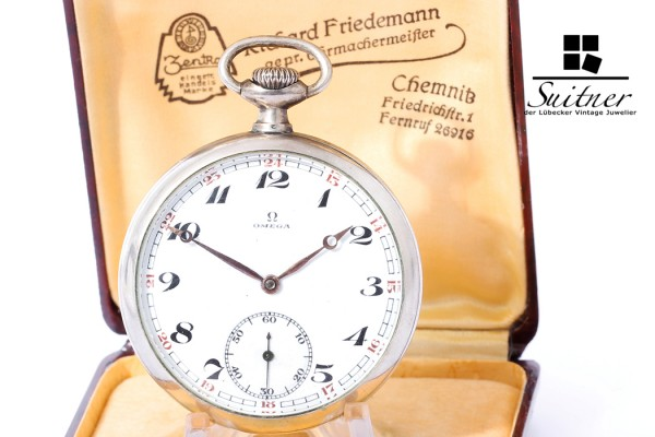 Art Deco Omega Taschenuhr Handaufzug 800 Silber Vintage 7 Medaillen