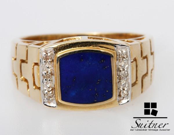 Ring Herrenring Siegelring 585 Gold Lapislazuli Gr. 62