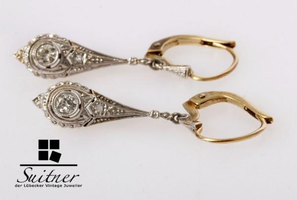 antike Art Deco Ohrhänger 585 Gold Altschliff Diamanten und Brillanten