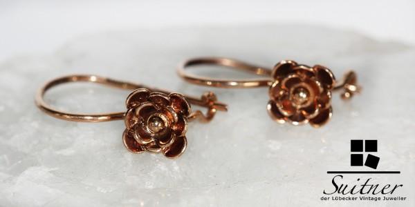 feine Ohrringe Ohrhänger mit Blüten floral roségold 585 Gold auch für Kinder