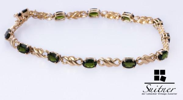 Juwelen Armband aus Gold Apfelgrüner Peridot traumhaft grüne Steine