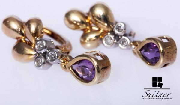 Ohrhänger Ohrringe Amethyst Diamanten 585 Gold