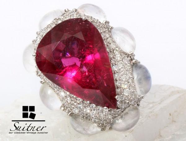 königlicher 50,73ct Pink Turmalin Brillant Ring 750 Weißgold Mondstein Adel NP 150.000,-