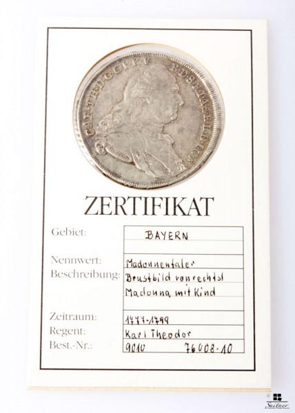 Taler Bayern 1784 SS Karl Theodor Madonnentaler sehr selten 1777-1799