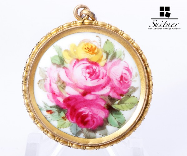 Anhänger Medaillon Meißen Porzellan Rosen