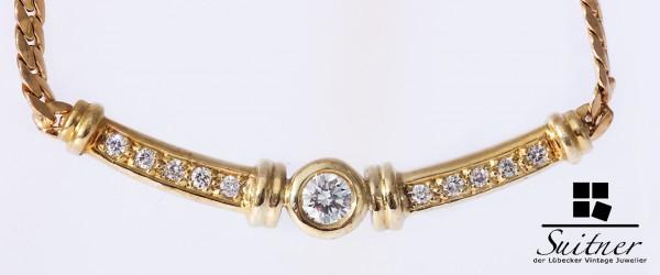 Luxus Collier mit Brillanten zus. 0,30 ct. Gold 585 Kette Top Wesselton vsi