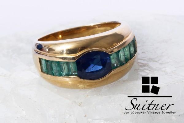 großer Smaragd Saphir Ring 750 Gold Gr. 53 Bandring Luxus Design