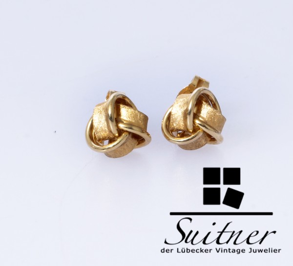 tolle Ohrstecker im Knoten Design aus 585 Gold Ohrringe Ohrschmuck