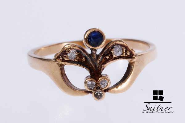 Saphir Diamant Ring Gelbgold 750 Gr. 55