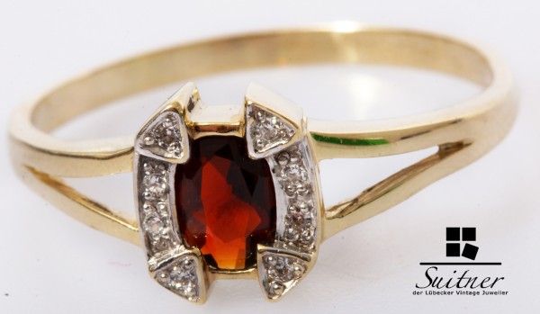 Art Deco Ring 585 Gold mit Garant und Diamanten Gr. 59