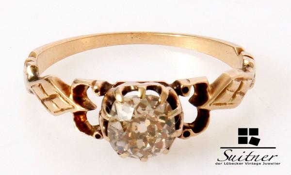 antiker Solitär Ring mit großem Diamanten ca. 0,75ct um 1860 585 Gold
