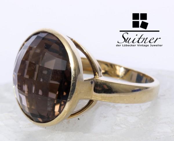 prächtiger Rauchquarz Ring aus 585 Gold Gr. 56 XL Stein facettiert