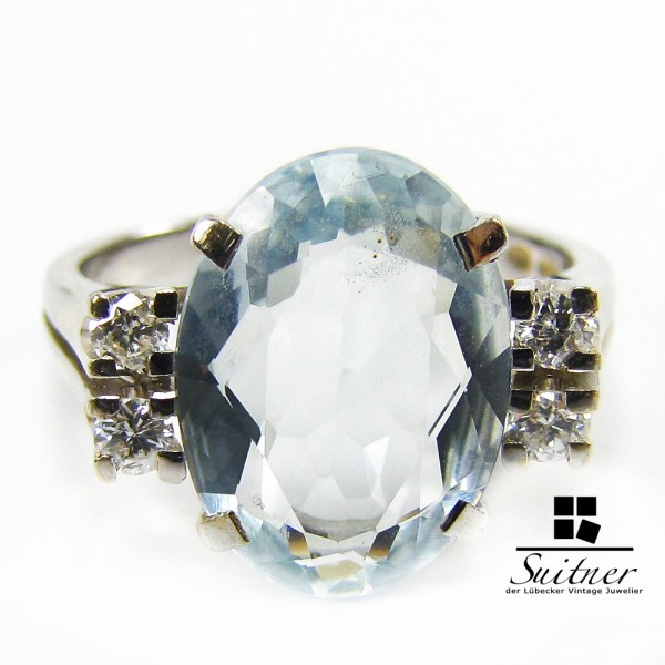 Antiker feiner Aquamarin im hellen Blau 0,20ct. Brillanten Ring 585 Gold Gr. 60