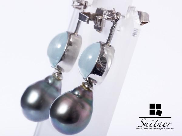 feinste Ohrhänger mit Tahiti-Perle Brillanten Aquamarin Platin 585 Weißgold