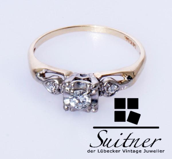 klassischer Brillant Ring 585 Gold und Weißgold Gr. 55 Solitär Design