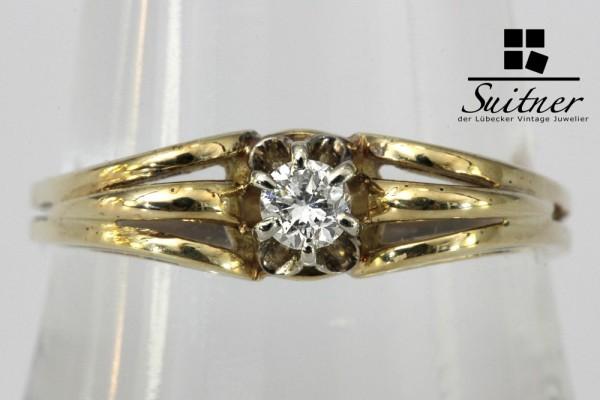 feiner antiker Brillant Ring mit ca. 0,10 ct. aus 585 Gold Gr. 58