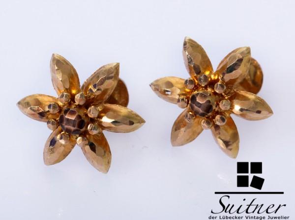 antike Blüten Ohrstecker 585 Gold Schraubverschluss Blätter Vintage