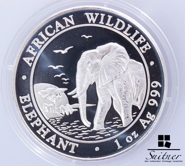 Somalia 2010 - 1 Unze Feinsilber in Kapsel Elefant Silber Ounce OZ