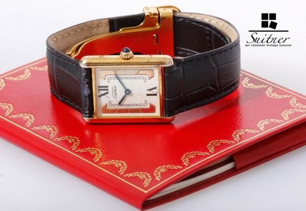 Cartier Tank Vermeil Medium Tricolor Damenuhr mit Faltschließe und Papieren