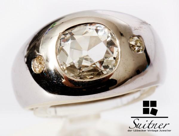 prächtiger Ring mit großen 1,50ct. Diamant Altschliff 750 Weißgold RG 51