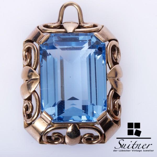 Blauer Spinell Anhänger aus Gold florale Einfassung in Jugendstil Optik