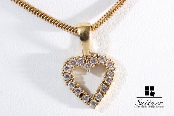 Collier mit Herz Brillant Anhänger zus. ca. 0,32 ct 585 Gelbgold